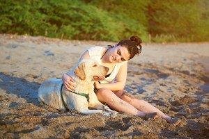 Woman with labrador