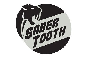 Saber Tooth Tiger Cat Head Circle
