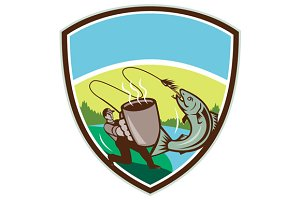 Fly Fisherman Salmon Mug Crest