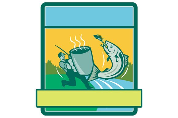 Fly Fisherman Catching Salmon Mug