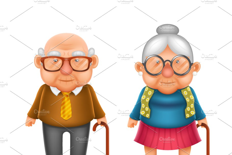 Happy Cute Old in Illustrations
