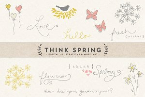 Think Spring Digital Art & Word Art