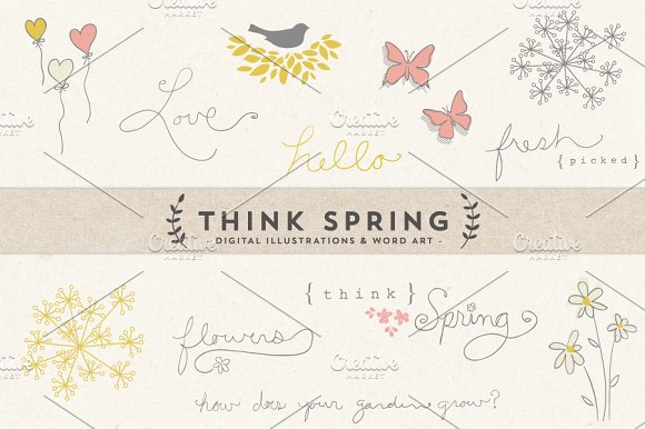 Think Spring Digital Art & Word Art