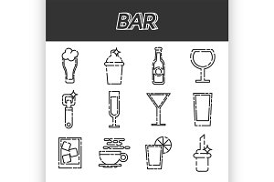 Bar flat icons set
