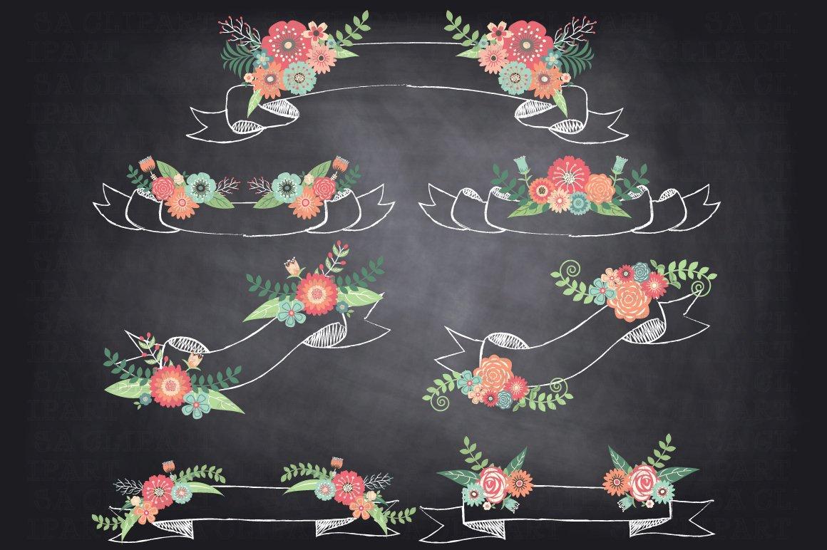 Chalkboard Floral Banner Clipart Illustrations