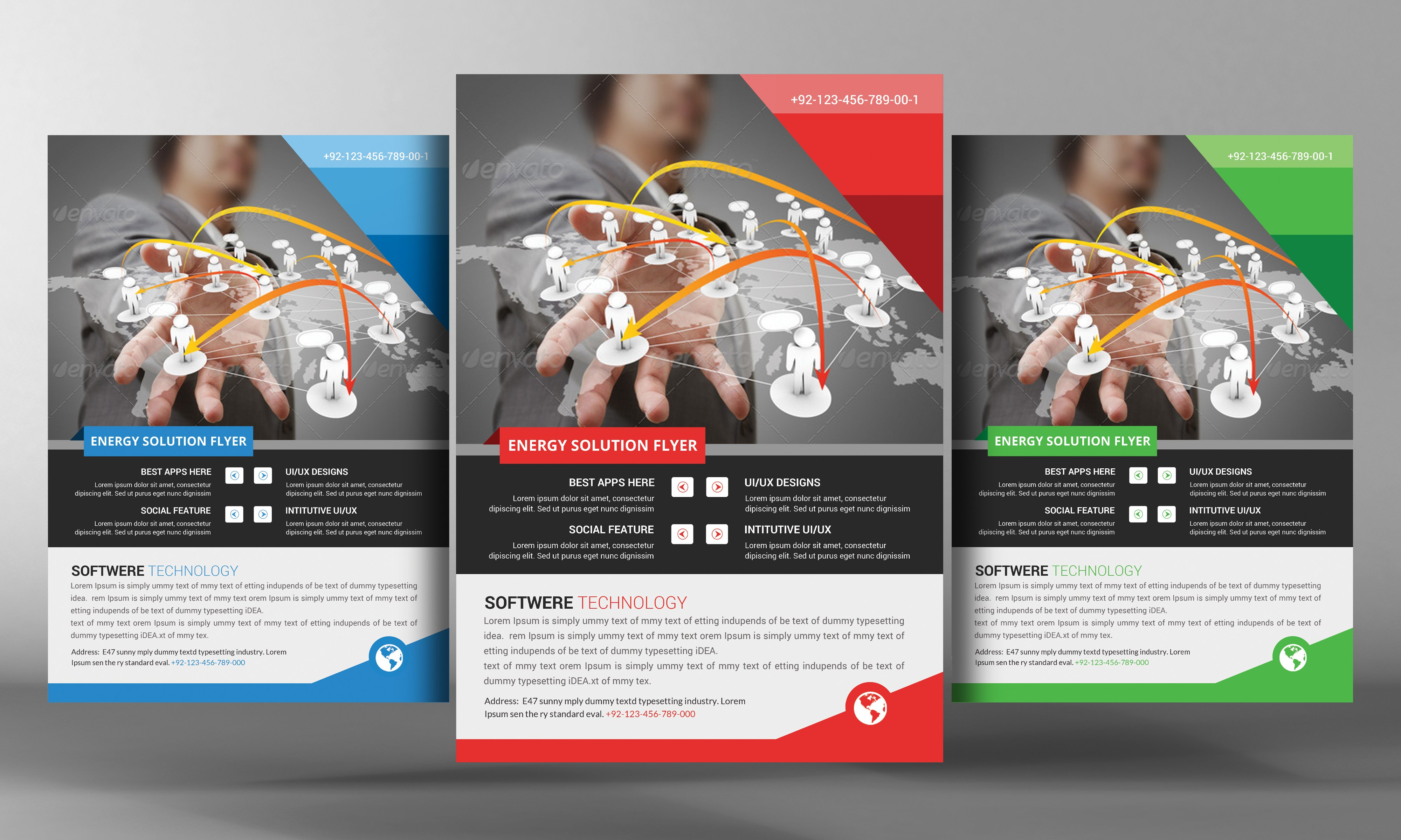 Software flyer template flyer templates creative market for Software brochure template