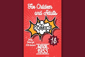 Color vintage comics shop banner