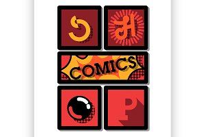 Color vintage comics shop emblem