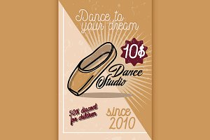 Color vintage dance studio banner