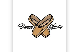 Color vintage dance studio emblem