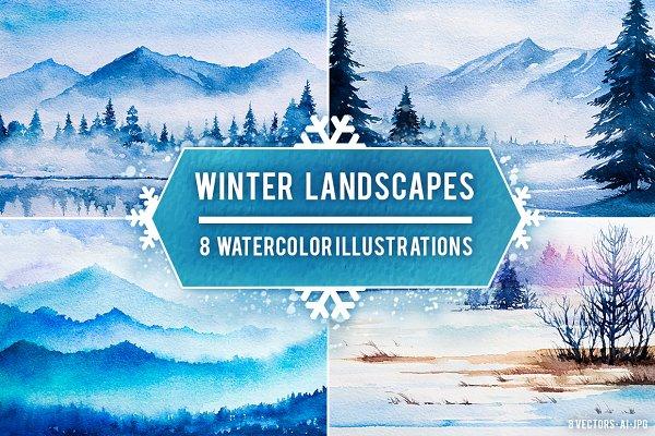 Winter Landscapes set#2. Watercolor…