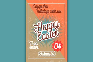 Color vintage easter banner