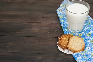 Homemade sesame cookes and milk
