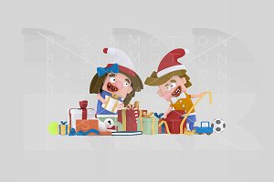 3d illustration. kids opening gifts