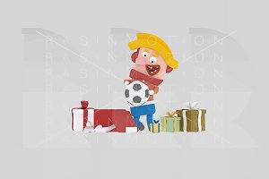 3d illustration.Boy opening gifts