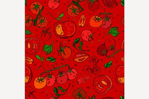 Tomato Hand Drawn Pattern