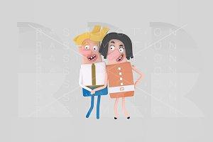 3d illustration. Proud couple.
