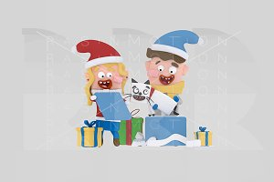 3d illustration. Kids opening gifts.