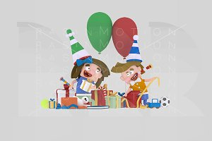 3d illustration.Kids opening gifts