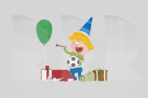 3d illustration. Boy opening gifts