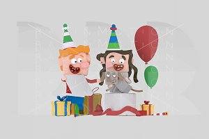 3d illustr. Children opening gifts