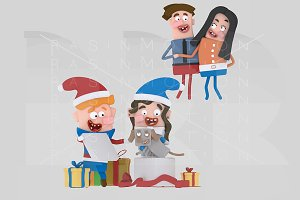 3d illustration. Happy opening gifts