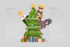 3d illustr. Magic kings &  Xmas Tree
