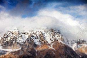 Mountain landscape, tilt shift