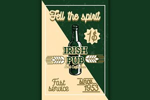 Color vintage irish pub banner