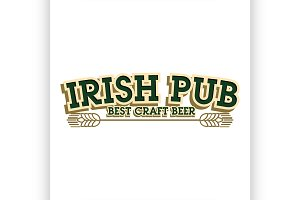 Color vintage irish pub emblem