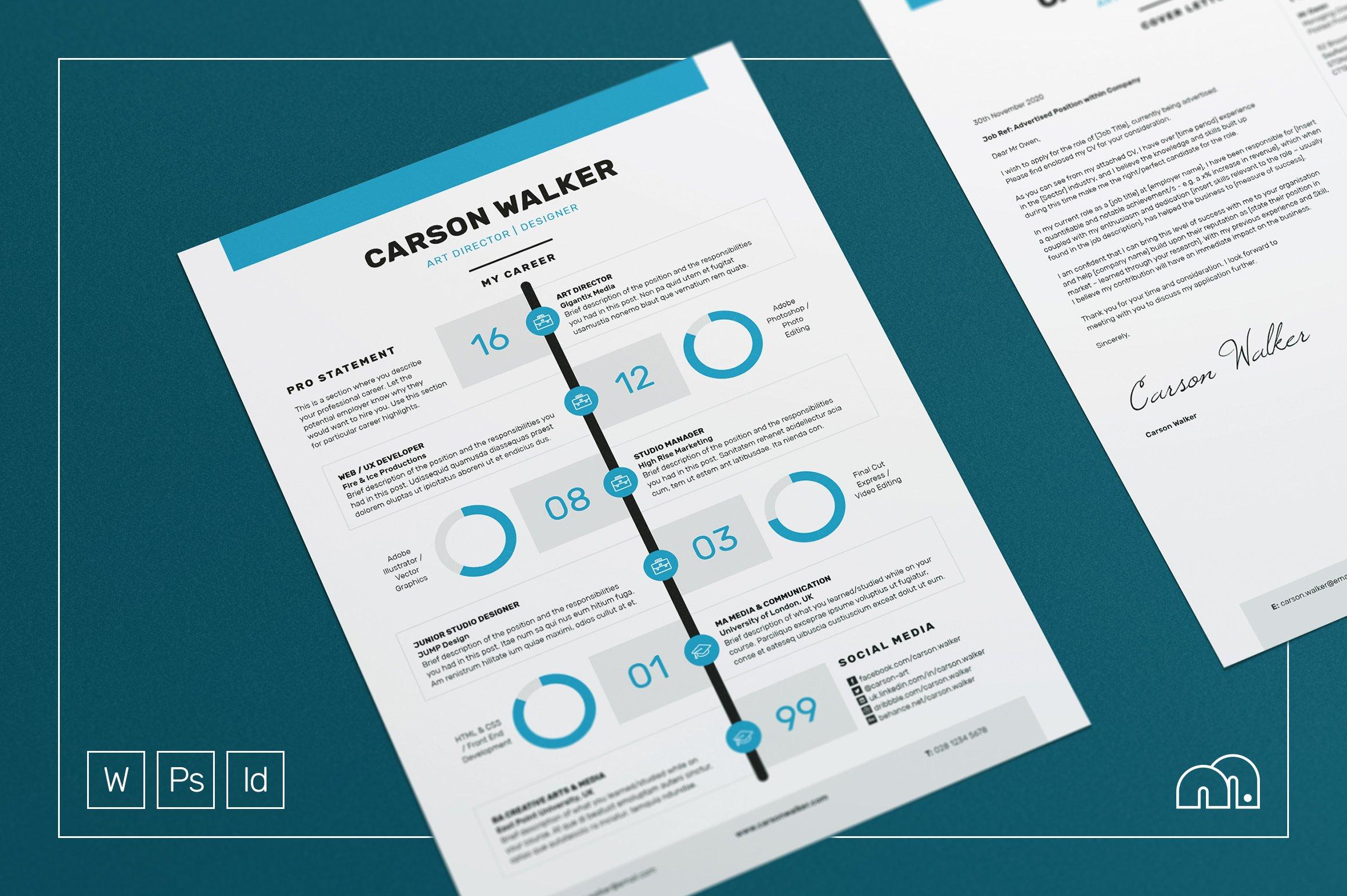 Resume/CV - Carson ~ Resume Templates ~ Creative Market