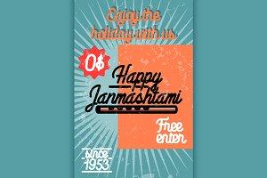 Color vintage janmashtami poster