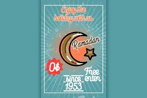 Color vintage ramadan banner