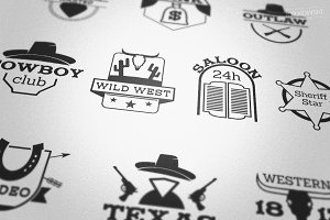 Wild West Country Badges Logos