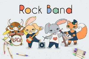 Rock Music Animals Set