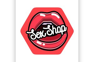 Color vintage sex shop emblem