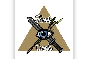 Color vintage tarot cards emblem