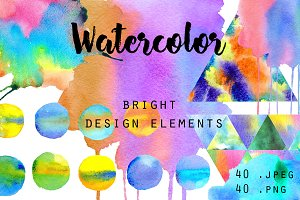 Watercolor bright design elements.