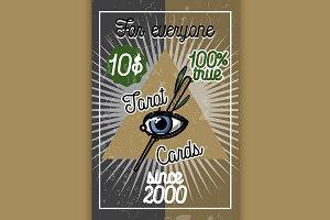 Color vintage tarot cards banner