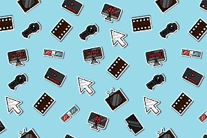 Hand drawn online cinema pattern