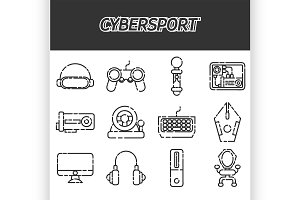 Cybersport icons set