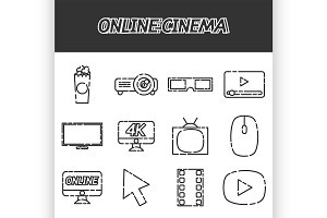 Online cinema flat icons set