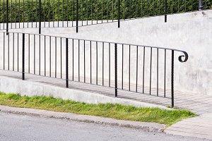 Ramp with steel railing