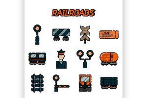 Railroads flat icons set