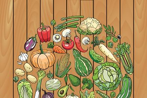 Eat veggies! Vector illustration