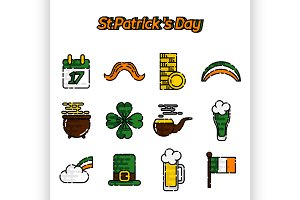 St.Patricks Day flat icons set