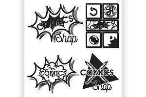 Vintage comics shop emblems
