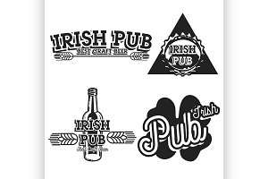 Vintage irish pub emblems