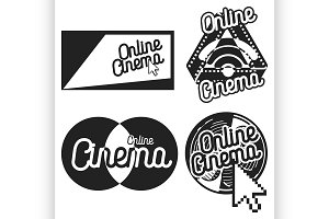 Vintage online cinema emblems