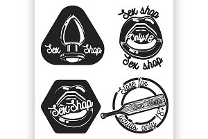 Vintage sex shop emblems